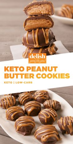 These Keto Peanut Butter Cookies are like Reese's — only healthier. Get the recipe at Delish.com. #recipe #easyrecipe #keto #ketodiet #ketogenic #ketogenicdiet #ketorecipes #coconut #chocolate #peanutbutter #healthy #dessert #snack #healthyrecipes #healthyeating #healthysnacks