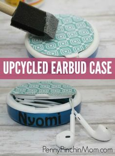 Upcycled Earbud Case! Easy to make so your earbuds don't get tangled up. Back to school | DIY school supplies | DIY craft | upcycle