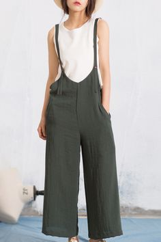 Mom wants...Anne Chen Blackish Green Spaghetti Strap Wide-Leg Pinafore Pants | Pants at…
