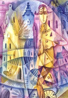 Harlequin with violin by Eugene Ivanov, 2003 Cubist Art, Violin, Home Art, Watercolor Paintings, Art Gallery, Illustration Art, Abstract, Artwork, Artist