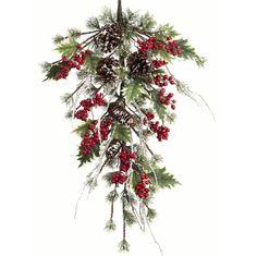 Snowy Pine Holly Christmas Swag - 81cm - Christmas Elves