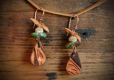 Rustic Western Leather Earrings / Repurposed by HuntandGatherStyle
