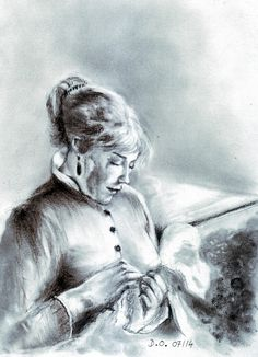 Young woman sewing. after a work by Renoir A4 pencil and pastel