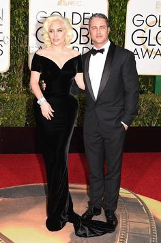 Lady GaGa Channels Marilyn Monroe On The Golden Globes Red Carpet With Fiancé Taylor Kinney
