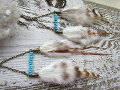 SLEEPING BEAUTY / Natural Feather Turqouise by ScarlettFireJewels, $28.00