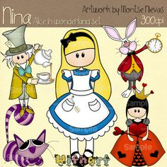 Alice in wonderland Nina dolls (0088) digital clip art set images for scrapbooking card making iron transfers jewelry printable crafts