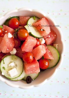 Watermelon-Cucumber-Tomato Salad with Feta