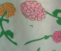 Detail of a vibrant zinnia print VG dress--from ebay.