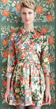 Classic shirtdress silhouette in a photographic floral print.  Andrea Diodati // Polyester // Made in USA