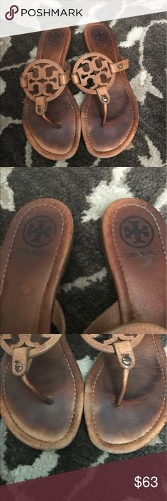 Tory Burch Miller sandals Tory.Burch Miller sandals brown these have where in tear from use as shown in the picture on the sole and the insole of the shoe and by the front toe area they are not perfect Tory Burch Shoes Sandals