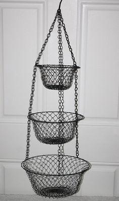 Vintage Metal Wire 3 Tier Hanging Fruit Vegatable Crafts Etc Basket Kitchen Craft Room Childs