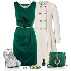 Regal green, sleeveless dress and an elegant white wool coat with gold buttons, fit for a queen.