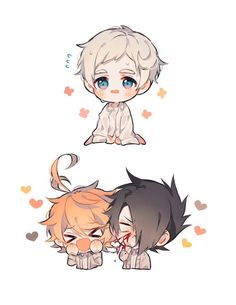 Norman, Emma, and Ray (The Promised Neverland) Fanarts Anime, Anime Manga, Anime Art, Manhwa, Norman, Anime Child, Environment Concept Art, Slayer Anime, Cute Chibi
