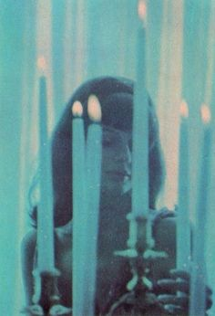 Vintage girl with candles (from horror film)? Magick, Witchcraft, Kitsch, Sublime Creature, Teen Witch, Grunge, Egyptian Goddess, Egyptian Mythology, Blue Candles