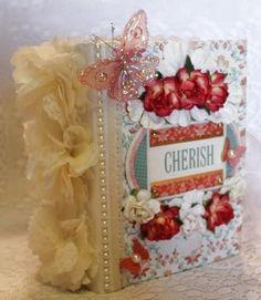 """""""CHERISH"""" any theme girl shabby vintage premade scrapbook album"""
