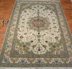 6'x9' Hand-knotted Wool n Silk Oriental Persian Tabriz Area Rug ~New37