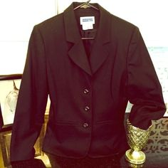 Classy black blazer 100% wool, lined, three button black blazer. Dress up or down. Great quality, in good used condition. Open to offers via the offer button only, no trades. Thanks. Use Bundle feature and save 10% and get discounted shipping! Jackets & Coats Blazers