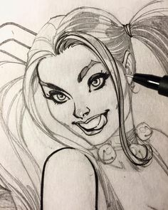 Close-up inking of Harley Quinn WIP with Faber-Castell PITT pen XS. #harleyquinn…