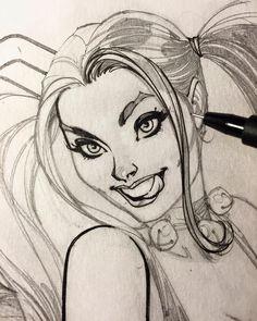 Close-up inking of Harley Quinn WIP with Faber-Castell PITT pen XS. #harleyquinn…