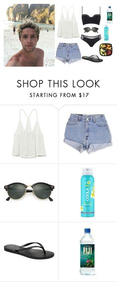 """""""Spring Break with Niall Horan"""" by marsophie ❤ liked on Polyvore featuring Victoria's Secret PINK, Levi's, Ray-Ban, COOLA Suncare, Havaianas, Kendall + Kylie, OneDirection and NiallHoran"""