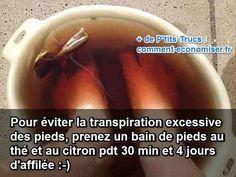 Vous aussi vous transpirez beaucoup des pieds ? C'est une sensation désagréable et source de mauvaises odeurs. Heureusement, j'ai trouvé un remède pour venir à bout de cette transpiration excessive :-)  Découvrez l'astuce ici : http://www.comment-economiser.fr/bain-de-pieds-pour-eviter-transpiration.html?utm_content=buffer8dc42&utm_medium=social&utm_source=pinterest.com&utm_campaign=buffer