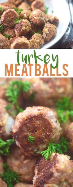 These healthy turkey meatballs are baked in the oven and are amazing served with marinara over pasta. Make this simple, delicious and easy weeknight dinner! dinner for 3 Turkey Meatballs — Buns In My Oven Healthy Recipes, Cooking Recipes, Cheese Recipes, Cooking Ham, Cooking Pumpkin, Kid Recipes, Fast Recipes, Italian Cooking, Cooking Turkey