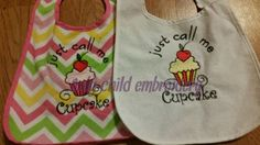cupcake bib https://www.facebook.com/onlychildembroidery/