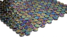 Penny Round Iridescent Glass - Oil Slick @  tiledaily.com