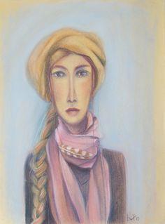 vrouw in pastel