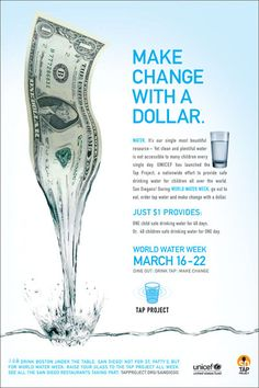 "Unicef Tap Project - ""Make Change with a  Dollar"""
