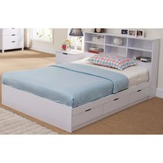 Shop for Contemporary Style Glossy White Finish Full Bookcase Headboard. Get free delivery On EVERYTHING* Overstock - Your Online Furniture Shop! Get in rewards with Club O! Full Size Headboard, Headboard With Shelves, White Headboard, Bookcase Headboard, Bed Frame With Storage, Panel Headboard, Bed Storage, Double Bed With Storage, Headboards With Storage