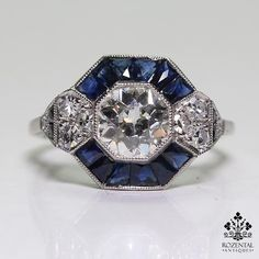 Antique Art Deco Platinum 1.04ct. Diamond & 0.9ct. Sapphire Ring