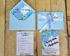 Купить Акварельные приглашения и гортензиями - голубой, безмятежность, нежно-голубой, гортензии, акварельный, каллиграфия, с конвертом