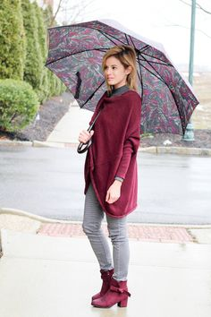 Wine is the color this winter and loving these two pieces. The top perfectly compliments the block heel boots from beast fashion.
