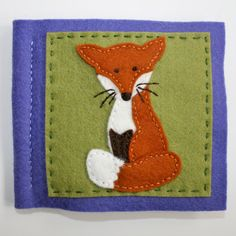 Wool felt needle book with fox by FabricAndInk on Etsy, $20.00