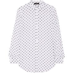 Theory Biritta polka-dot silk-crepon blouse ($325) ❤ liked on Polyvore featuring tops, blouses, white, transparent blouse, polka dot top, see through tops, sheer silk blouse and silk top