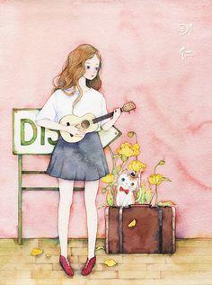 弹尤克里里的她-那仁_水彩,手绘,女孩,尤克里里_涂鸦王国插画