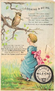 Mr. Owl knows his sewing supplies - vintage ad for Clark's thread