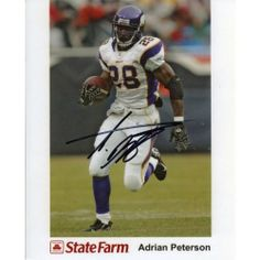 Signed Adrian Peterson Photo - 8x10 - Autographed NFL Photos - http://nfledge.net/signed-adrian-peterson-photo-8x10-autographed-nfl-photos/ - This is a Adrian Peterson Autographed 8×10 Photo. Signed in black sharpie across the front of the photo. Adrian is running with the ball while playing with the Minnesota Vikings. Item is authenticated by Hollywood Collectibles. Product Features  100% Certified Authentic and Backed by our Sports Memorabilia Authenticity Guarantee Ca