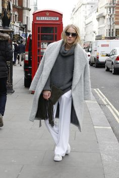 Our soft purity mega trend for #LFW #AW15 spotted on the streets. WGSN street shot, London Fashion Week.