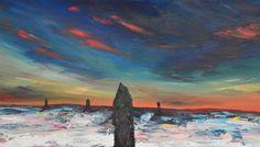 Failing light - Ring of Brodgar, Orkney - Scottish Winter Landscape original acrylic painting
