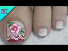 Pretty Toe Nails, Pretty Toes, French Nail Art, Women's Feet, Lily, Pedicures, Youtube, Toenails, Designed Nails