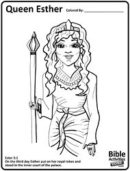 esther printable coloring sheet - Esther Bible Story Coloring Pages