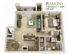 studio apartment floor plans - Google Search
