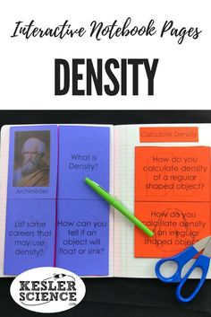 Teach density, including key scientists and how to calculate, with these worksheet foldables. Perfect for taking notes during a chemistry lesson or introductory class. Turn science notebooks into a fun, interactive, hands-on learning experience for your middle school or high school students! Grades 5th 6th 7th 8th 9th 10th Teaching Chemistry, Chemistry Lessons, Science Lessons, Science Experiments, Science Words, Physical Science, 6th Grade Science, Middle School Science, Science Notebooks
