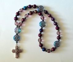 Art Deco Inspired Hematite Gemstone and Czech Glass Anglican Prayer Beads by SoFineDesigns on Etsy