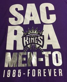Sacramento Kings 1985-Forever Purple X-Large Short Sleeve Tee T-Shirt XL #SacramentoKings
