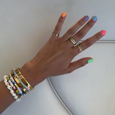 Colourful nails with a touch of gold ✨ Mani Pedi, Gel Manicure, Cute Nails, Pretty Nails, Funky Nails, Hair And Nails, My Nails, Acryl Nails, Nail Jewelry