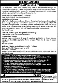 Public Sector Company The Urban Unit Jobs Assistant, Manager, Sr Manager May 2019 - Daily Jobs Resume Format Free Download, Assistant Manager, Education Jobs, Equal Opportunity, Medical College, Career Opportunities, Job Description, Public, Management
