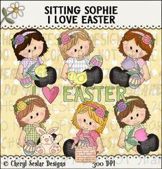 Sitting Sophie I Love Easter 1 - Clip Art by Cheryl Seslar